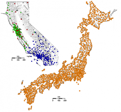 California and Japanese Seismic Networks